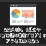 2020年度4, 5月分の『ゴロ理の雑記ブログ』のアクセス解析結果